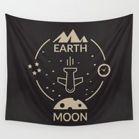 aviation Wall Tapestries featuring Aviation: Earth to Moon by Imaneeque