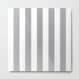 Metallic silver grey - solid color - white vertical lines pattern Metal Print