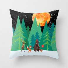 Take a walk under the moon Throw Pillow