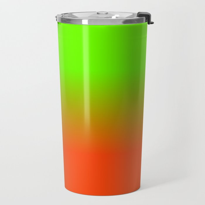 Neon Green and Neon Orange Ombré  Shade Color Fade Travel Mug