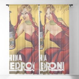 Vintage China Pedroni Advertising Wall Art Sheer Curtain