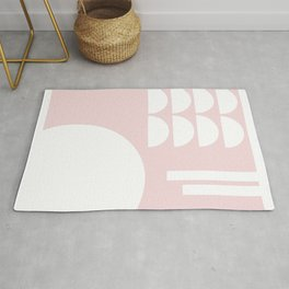 Pink Cuts in White Rug