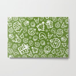 XMAS Green Pattern / Part One Metal Print