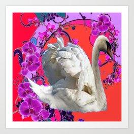 Abstracted Swan Purple Fantasy Art Art Print