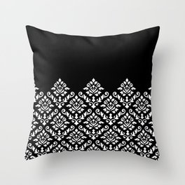 Damask Baroque Part Pattern White on Black Throw Pillow