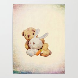 lovely teddy bear and bunny Poster