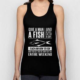 Give Man A Fish Fisherman Mens Funny Christmas Gift Angler Tackle Fish T-Shirts Unisex Tank Top
