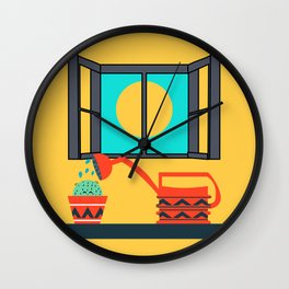 Cactus watering Wall Clock