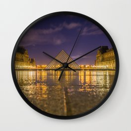 The Louvre at night Wall Clock