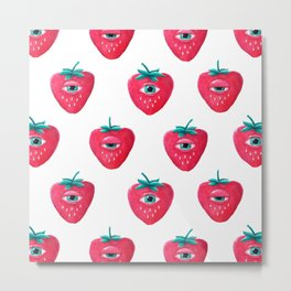 Cry Berry Pattern Metal Print