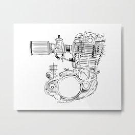SR500 Motor Sketch Metal Print