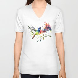 Hummingbird, tropical Foliage, Hawaiian design, tropical, colors Unisex V-Neck