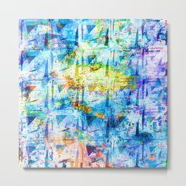 Light Blue Tie Dye Squiggle Square Pattern Metal Print