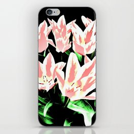 Rose White Tulpis on black Background Clipart iPhone Skin
