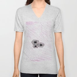 flower with pink background Unisex V-Neck