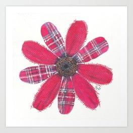 Red Plaid Petals Art Print