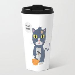 Construction Worker Cat Travel Mug