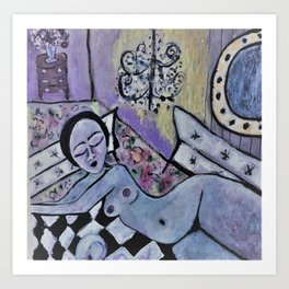 Woman with couches Art Print