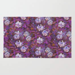 White roses, purple leaves Rug
