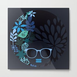 Afro Diva : Sophisticated Lady Teal Metal Print