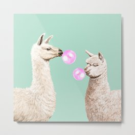 Llama and Alpaca Bubblegum Gang Metal Print
