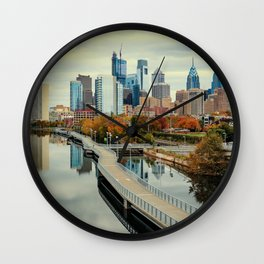 Philadelphia Fall Skyline Wall Clock
