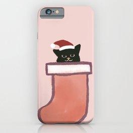 Hidden Cat 13 Abstract Xmas Minimalist gift Cat inside sock  iPhone Case