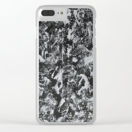 White Ink on Black Background #1 Clear iPhone Case