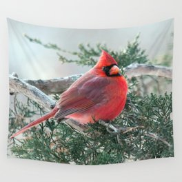 Red on Red (Northern Cardinal) Wall Tapestry