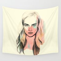 cara Wall Tapestries featuring Cara by Beth Zimmerman Illustration