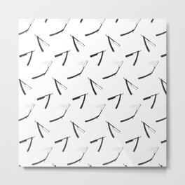 Barbershop pattern with shaving razor Metal Print