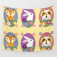 racoon Wall Tapestries featuring Woodland by LeaLea Rose
