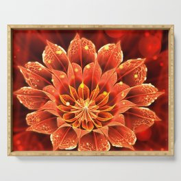 Red Dahlia Fractal Flower with Beautiful Bokeh (Vivid Crimson) Serving Tray