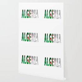Algeria Word With Flag Texture Wallpaper