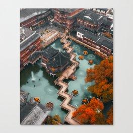 First Snow in Yu Garden, Shanghai Canvas Print