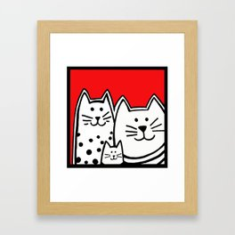 Three Kitties In Red Framed Art Print