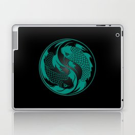 Teal Blue and Black Yin Yang Koi Fish Laptop & iPad Skin