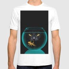 Black Cat Goldfish II White MEDIUM Mens Fitted Tee