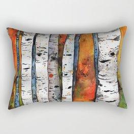 Birch trees autumn leaves rainbow Rectangular Pillow