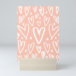 coral pattern with white hearts Mini Art Print