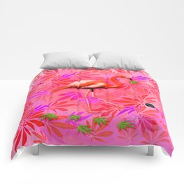 Blushing Cannabis Flamingo Comforters