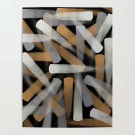 Digital Paint Brush Strokes in Gold, Silver and White Poster