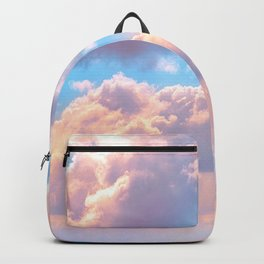 Beautiful Pink Cotton Candy Clouds Against Baby Blue Sky Fairytale Magical Sky Backpack