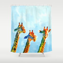 Head in the Clouds - Three Giraffes & Bird Friends Shower Curtain