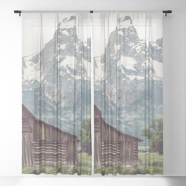 Grand Teton National Park Adventure Barn II - Landscape Photography Sheer Curtain
