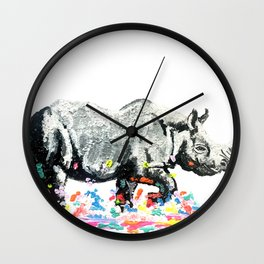 Rhino on a Colour Run Wall Clock