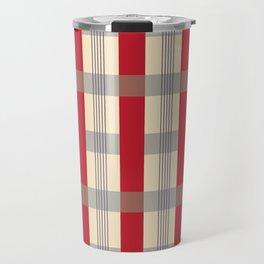 Red Striped Plaid Travel Mug