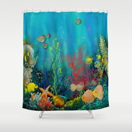 Undersea Art With Coral Shower Curtain