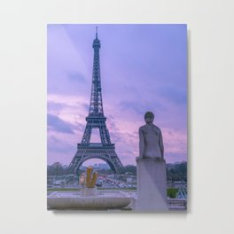 Purple Tinged Eiffel Tower Paris France Metal Print