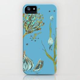 Garlic Drawing Blue background iPhone Case